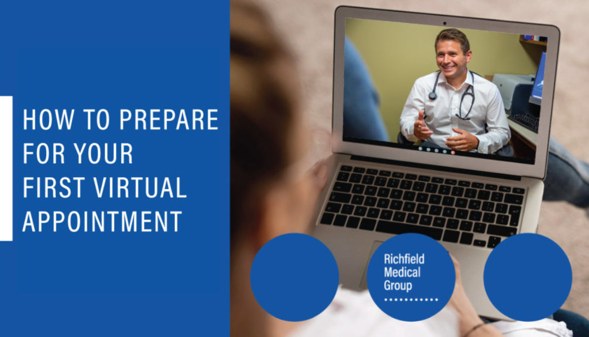 "Doctor on a laptop with text ""How to Prepare for your first virtual appointment"" from Richfield Medical Group in Minnesota"